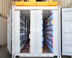 Archiving shelve storage in a Steel Container - Streff Luxembourg