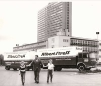 1970 Stefan and Max Chorus with their Father with Streff Moving Truck near Kirchberg ex-European Parliament building