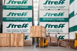 Streff Storage Forklift Carrying a Wooden Crate